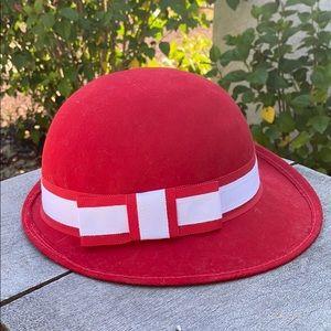 Doeskin Felt 100% Wool Red Round Bowl Vintage Hat
